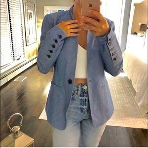 Loft blue linen blend blazer size 0